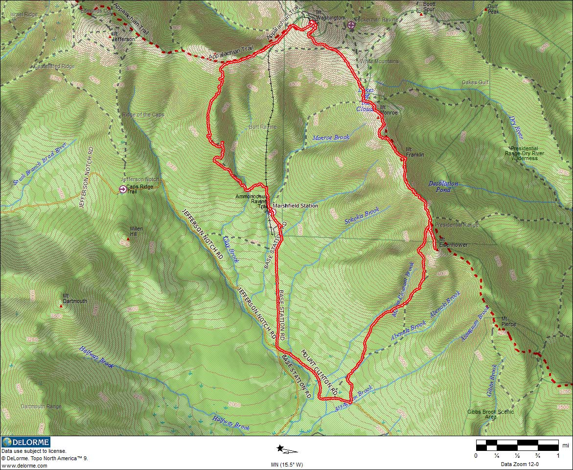 Jewell Trail Mt Washington Map.Washington Monroe Eisenhower